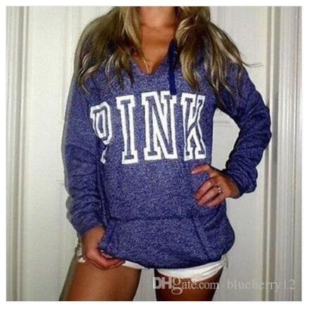 139530b7410b Winter Pullover Fashion PINK Printing Long-sleeved Women s Sweater Casual  Hoodies American Eur Sudaderas Mujer Sweatshirts Top Clothing Hot Mens  Sportswear ...