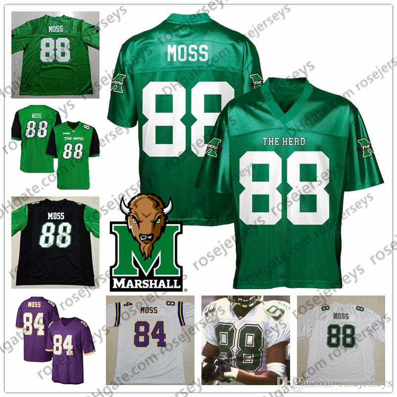 watch bece4 55ff0 NCAA Marshall #88 Randy Moss Green Jersey 84 Moss Purple Vintage 18 81  Retired Player Blue Red White Retro Thundering Herd College Football