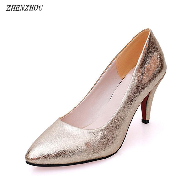 ed1aaea462fd21 Designer Dress Shoes Zhenzhou Women Pumps Spring New Women S Of High Heels  Gold Wedding Fashion Aesthetic Hot Style Tide Mens Casual Shoes Penny  Loafers ...