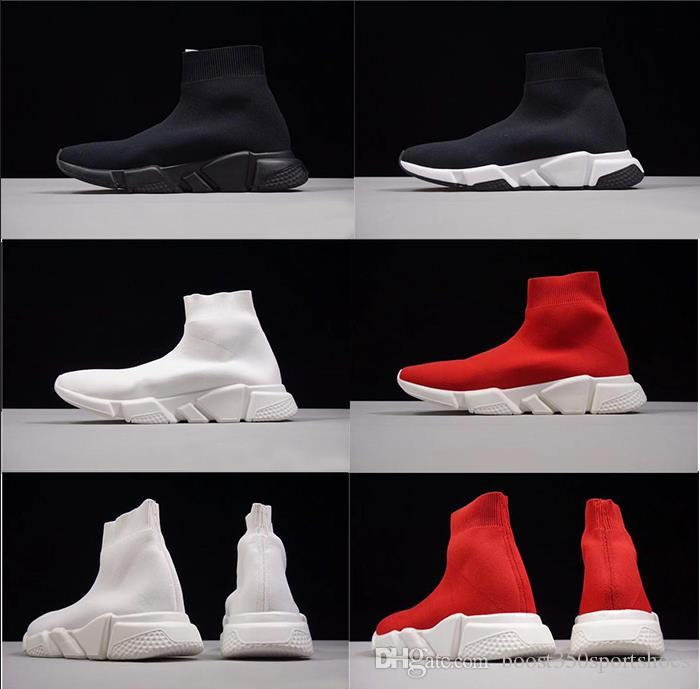 2018 luxury Speed sock high quality Speed Trainer casual shoes for men and women shoes Speed stretch-knit shoes Mid sneakers size with box