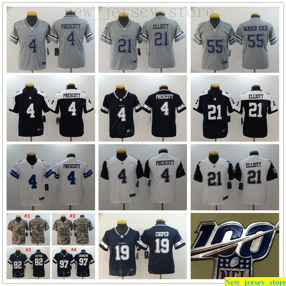100th Youth Kids DallasCowboysFootball Jersey Stitched New 4 DakPrescott 21 EzekielElliott 19 AmariCooper 55 LeightonVander 97 TacoCharlton