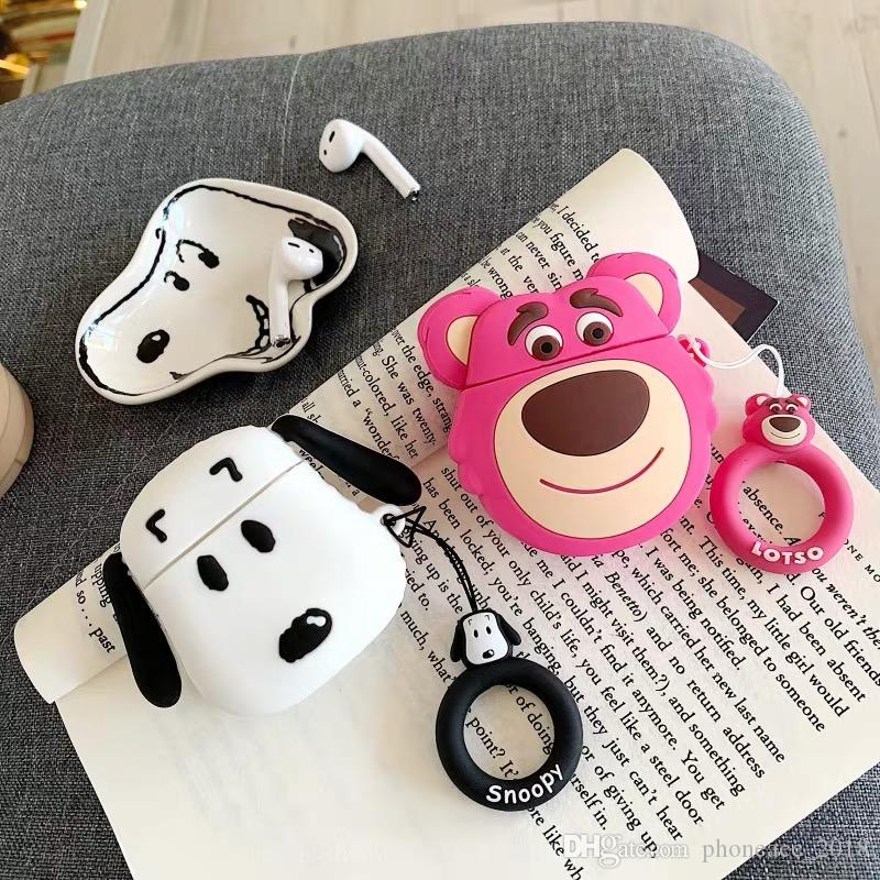 3D Cartoon Dog Bear Case for AirPods Protective Shockproof Silicone Case Cover Pouch For Apple Wireless Bluetooth Headset