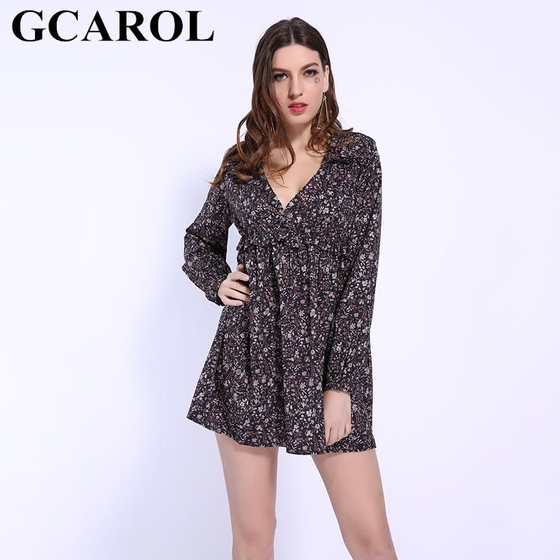 3e8059cb7b9e GCAROL 2019 Early Spring Summer V Neck Floral Dress High Waisted Ruffles  Decoration Sweet Cute Mini Perfect Basics Dress Party Dresses Junior Short  Purple ...