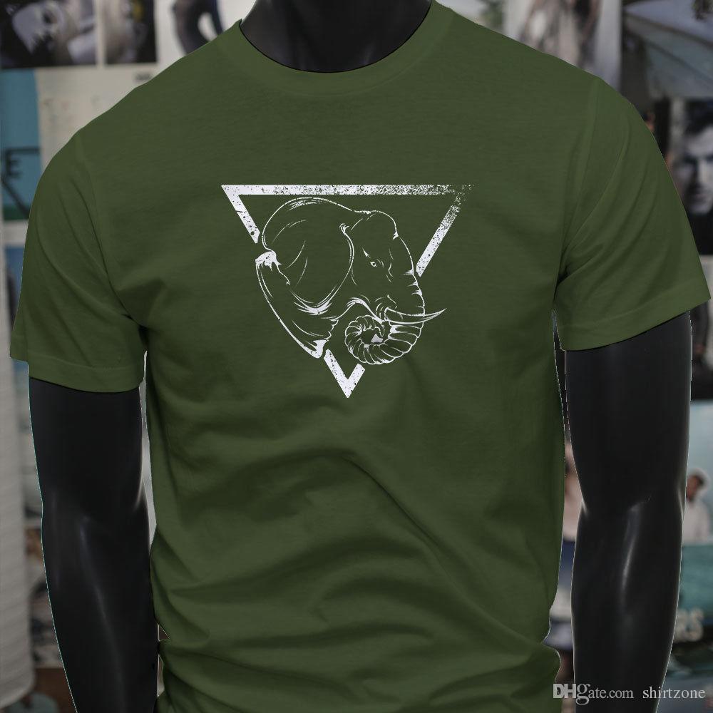 2b2a1a2c Vintage Elephant Safari Wild Animal Love Peace Mens Military Green T-Shirt  T Shirt Men Man's Unique Custom Short Sleeve Big Size Men's Tshir