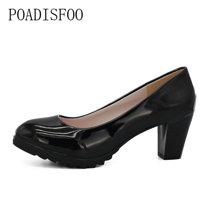 Poadisfoo Spring And Autumn Female Patent Leather Square Heels Shoes Black Leather Round Toe Anti-skid Pumps .lss-319