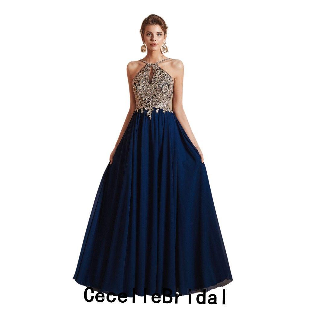 Vestido de fiesta azul marino con dorado
