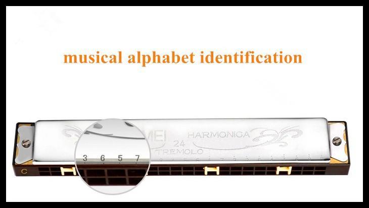 24 Harmonica Mouth Ogan 24 Holes Chiave di C Gaitas Armoniche Tremolo Mundharmonika Armonica Strumenti musicali Bocca Ogan