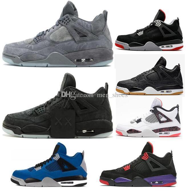 super popular 4d5e2 837f1 Good Quality 4 4s KAWS Grey Glow Black Raptors Black Purple Eminem Encore  Blue Suede Basketball Shoes Men 4 Sneakers With Box