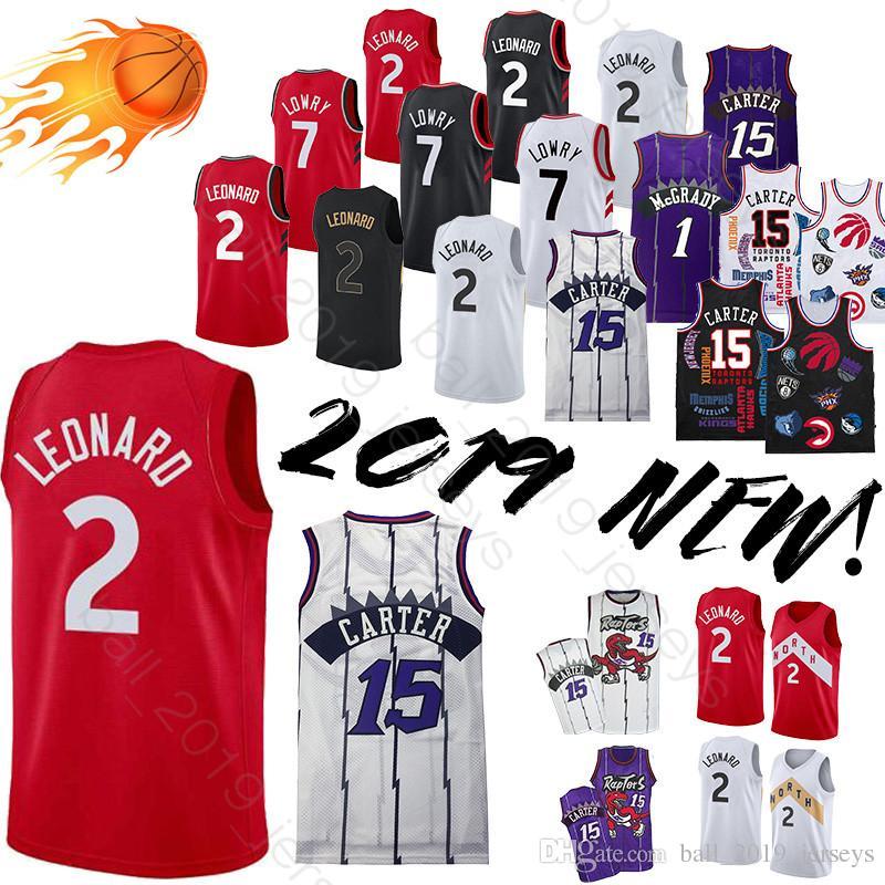 new product 8024e de668 Toronto 2019 Raptors jersey 2 Leonard jersey 15 Carter 7 Lowry 1 McGrady  Retro Jersey basketball jerseys