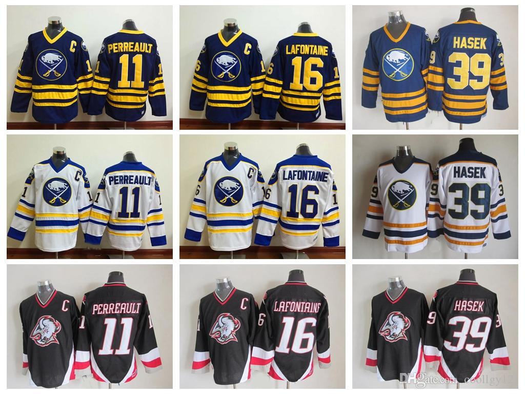 1bb29545c8d 2019 Top Quality Buffalo Sabres Hockey Jerseys #16 Pat LaFontaine #11  Gilbert Perreault #39 Dominic Hasek 1992 CCM Vintage Stitched C Patch From  Coollgy121, ...