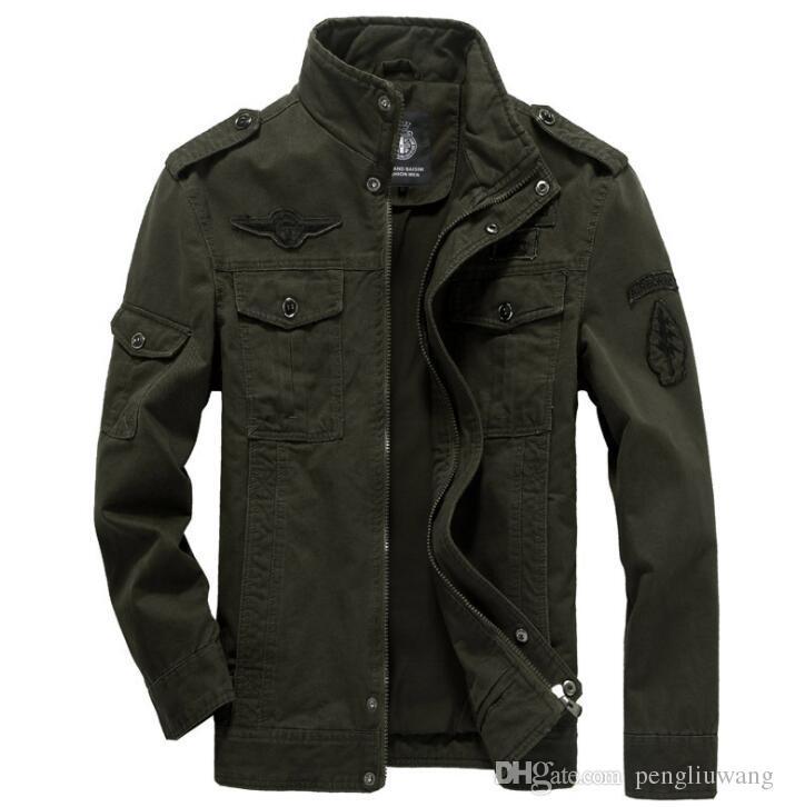 45175cd64b5a Compre Tamanho Grande 6XL Jaqueta Militar Homens Roupas Casuais Air ...
