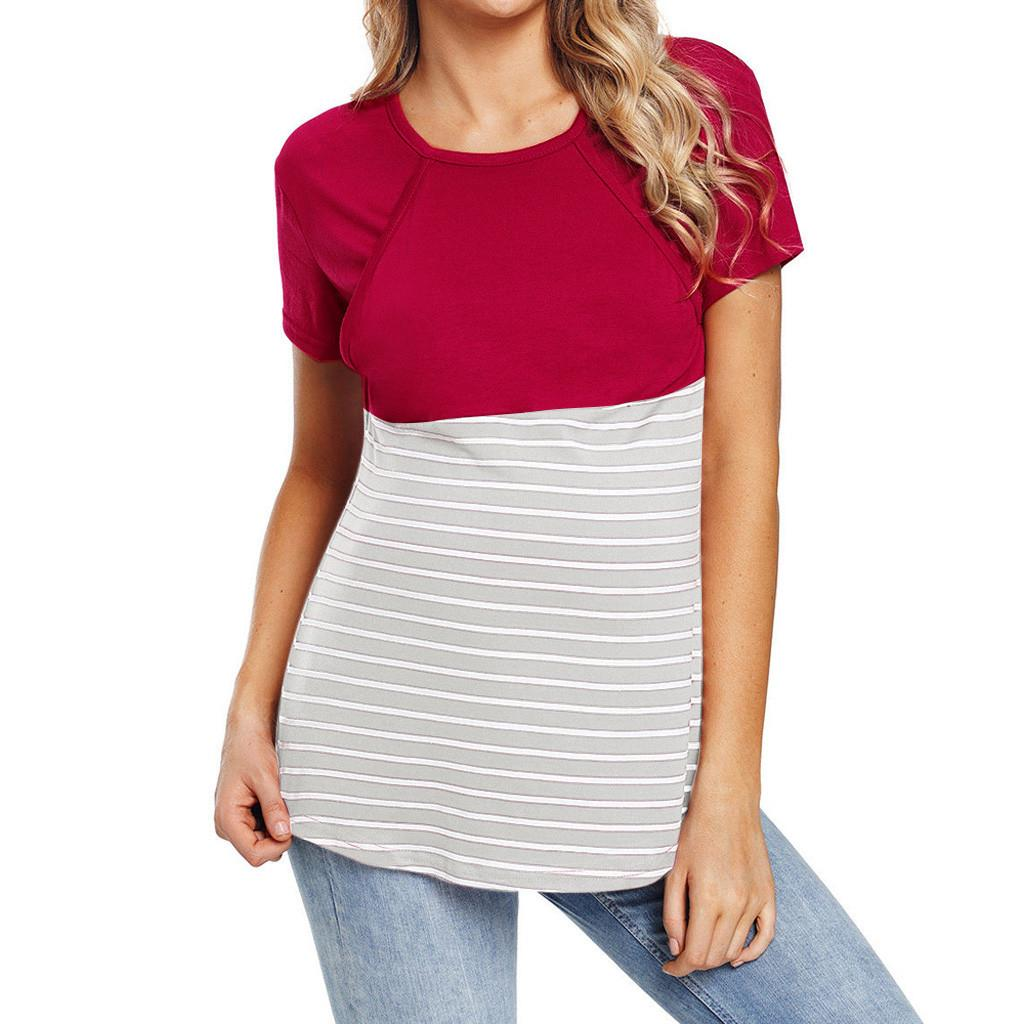990b4a22c Compre Mujeres Embarazadas Maternidad Camisetas De Enfermería Tops Raya Ropa  Para Amamantar Top Camiseta Blusa Ropa Para Mujeres Embarazadas A  35.84 Del  ...