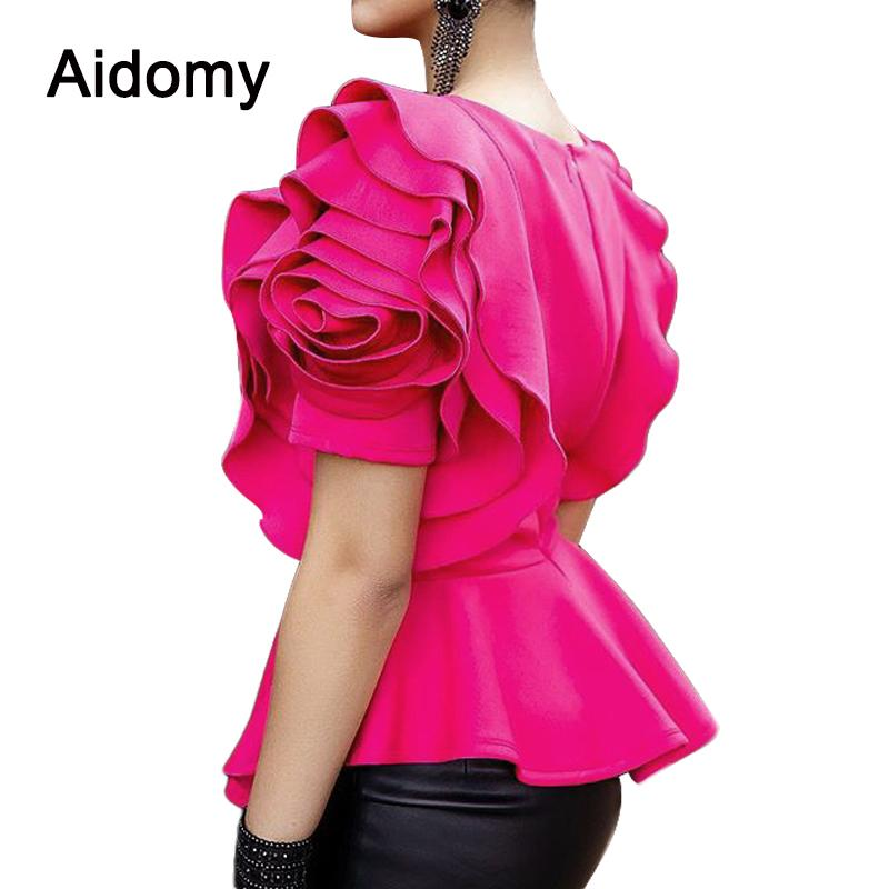 e9c5066133a 2019 Rose Applique Women Tops Blouses Summer Short Sleeve Ruffles Shirts  Evening Party Wear Peplum Top Female Shirt Black White Red Y19042902 From  Huang01, ...