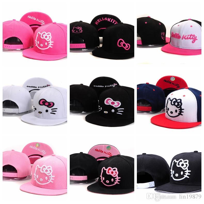 b7acb03e0 New Fashion pink Hello Kitty mesh Baseball Caps men women girl boy Hip Hop  Casquette Gorras Bone Snapback Hats