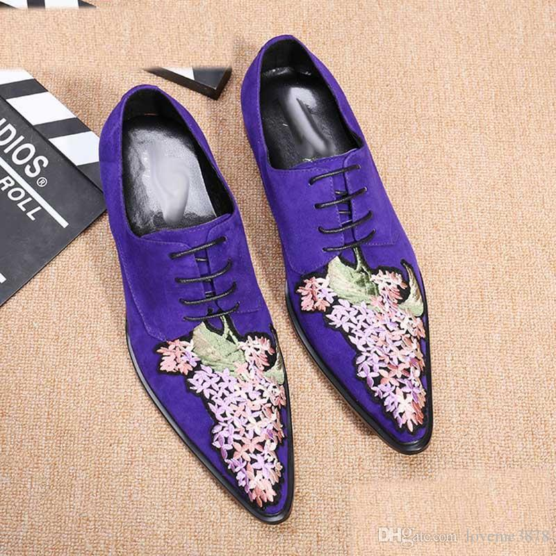 Pointed Toe zapatos de hombre Fashion Italian Dark Blue Men's Dress Shoes Formal Business Flock Shoes Flower Embroidery , EU38-46!