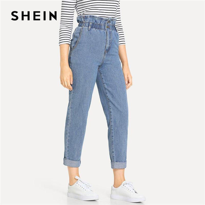 4ff3a81d7c7b 2019 Shein Blue Rolled Hem Frill High Jeans 2019 Women Spring Plain Pocket  Zipper Elastic Waist Casual Pants Trousers C19041201 From Linmei0006, ...