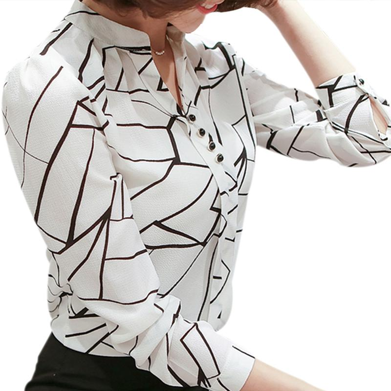 meilleure vente large sélection sur des coups de pieds de Femmes chemisier en mousseline de soie chemise 2019 femme vêtements à  manches longues Blusas bureau blouses en mousseline de soie pour femmes  Imprimer ...