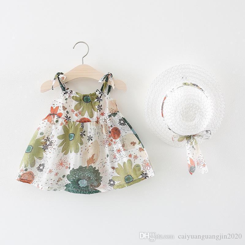 81b1a8523a8f9 New BNWIGE Baby Girls summer Dress With Hat 2pcs Set Cotton Print Floral  Sleeveless Baby Girl Clothes Birthday Party Princess Dress Vestido
