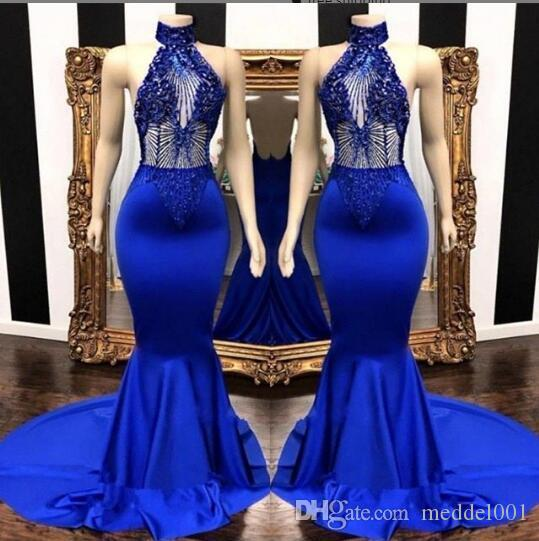 Royal Blue Stretch Blue Sexy Mermaid Prom Dresses Long Real Picture High Neck Black Girls Prom Gowns Beaded 2019 African Elegant Evening