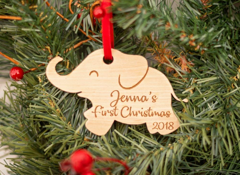 Baby S First Christmas Ornament Personalized Elephant Ornament New Baby Gift 1st Christmas Baby Shower Gifts Engraved