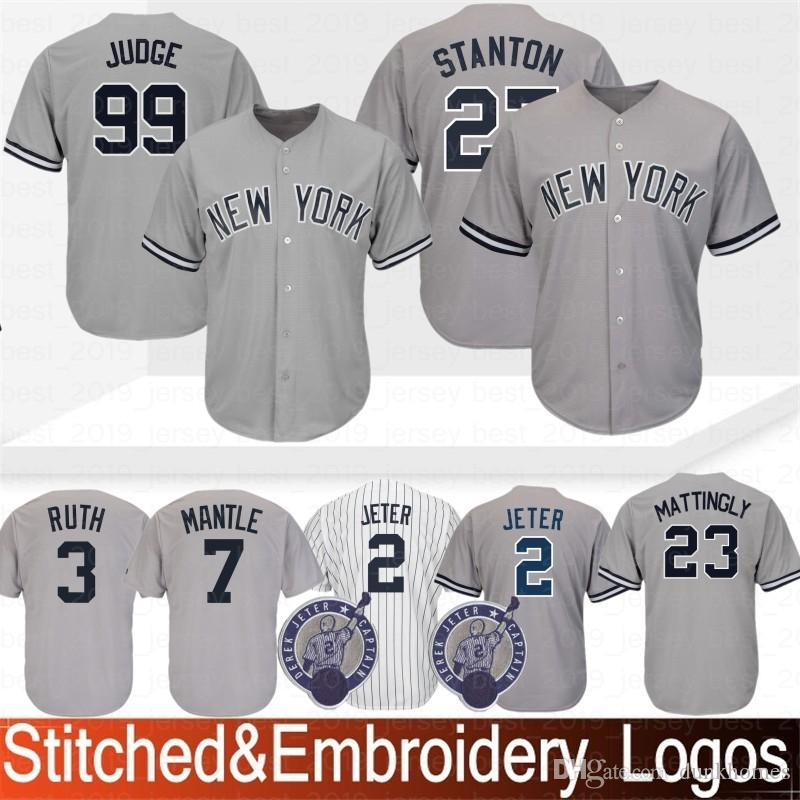 afe6bacccdc0 Compre Bordado 99 Aaron Juiz New York Yankees Jersey 3 Babe Ruth 23 Don  Mattingly 7 Mickey Manto 42 Jerseys Mariano Rivera Baseball Costurado De ...