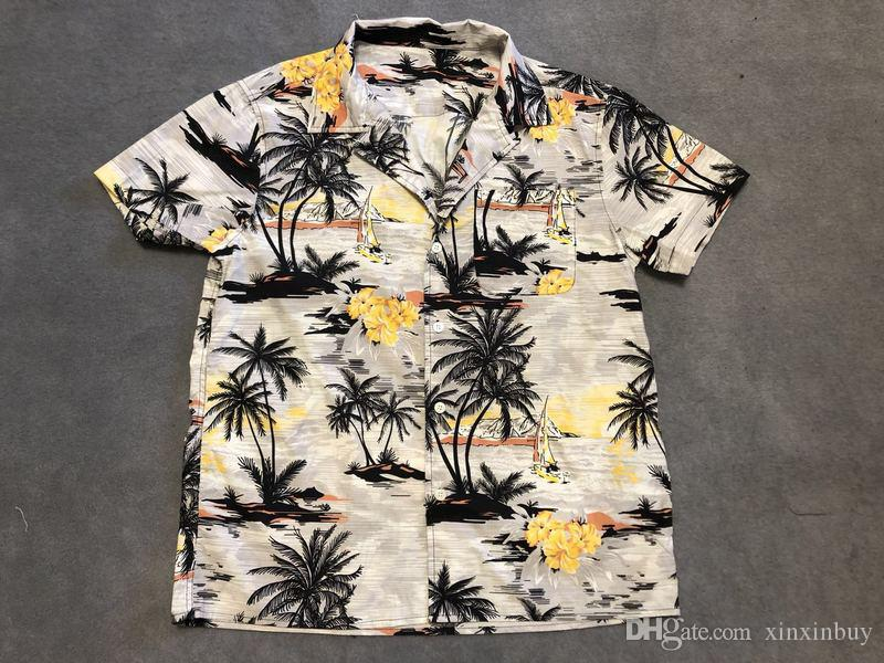 95e5a5d28aa7f6 2019 INS Mens Designer Casual Shirts Fashion Luxury Beach Coconut Tree  Print Clothes Short Sleeve Women Men Shirts Crew Neck Top Quality 19ss From  Xinxinbuy ...