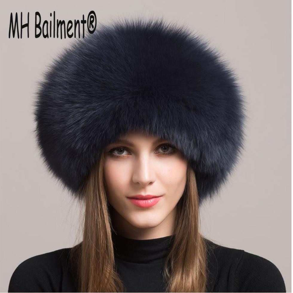 593c4cc9395 2017 Women Real Fox Fur Hat Winter Warm Thick Fur Cap Genuine Natural Fur  With Sheepskin Top Bomber Solid Hats H 21 D19011503 Knit Hat Hats And Caps  From ...