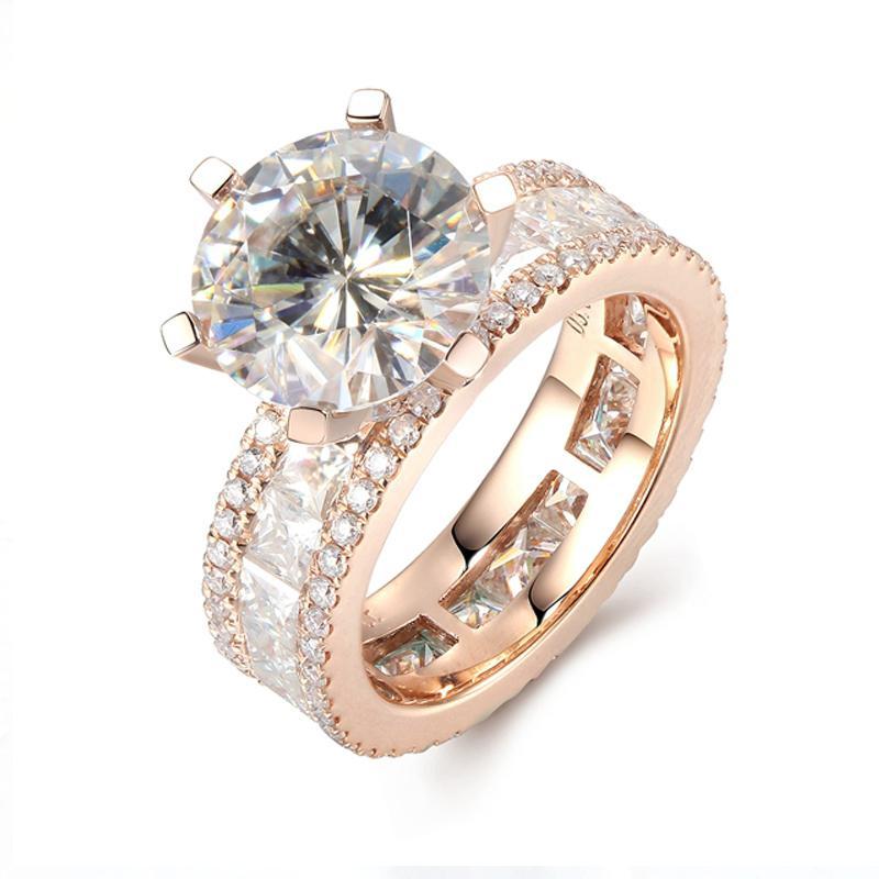 b3a8acfbbeb6 Compre Lujo 3 Quilates Ct DF Compromiso De Bodas De Color Anillo De Diamante  Crecido Con Moissanite Acentos Sólido 14K 585 Oro Blanco C18122701 A   1645.33 ...