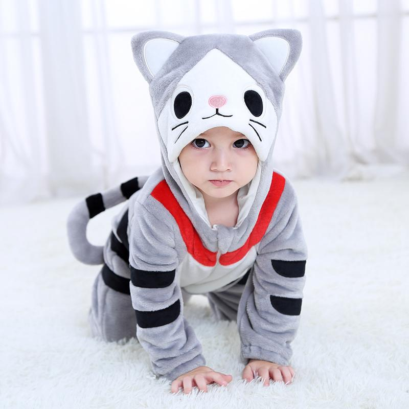 Dress Up 2019 Hot Baby Cheese Cat Costume Cosplay Kigurumi Cartoon Animal Rompers Infant Toddler Jumpsuit Flannel Halloween Fancy Dress