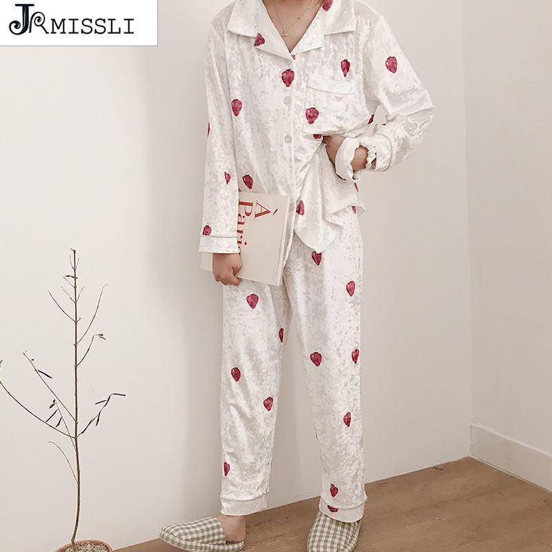 cf5a3351b5a3 2019 JRMISSLI Gold Velvet Soft Women S Pajamas Sets Cute Lady Lingerie  Sleepwear Autumn Winter Leisure Homewear Women Pajama Suit From Kingflower