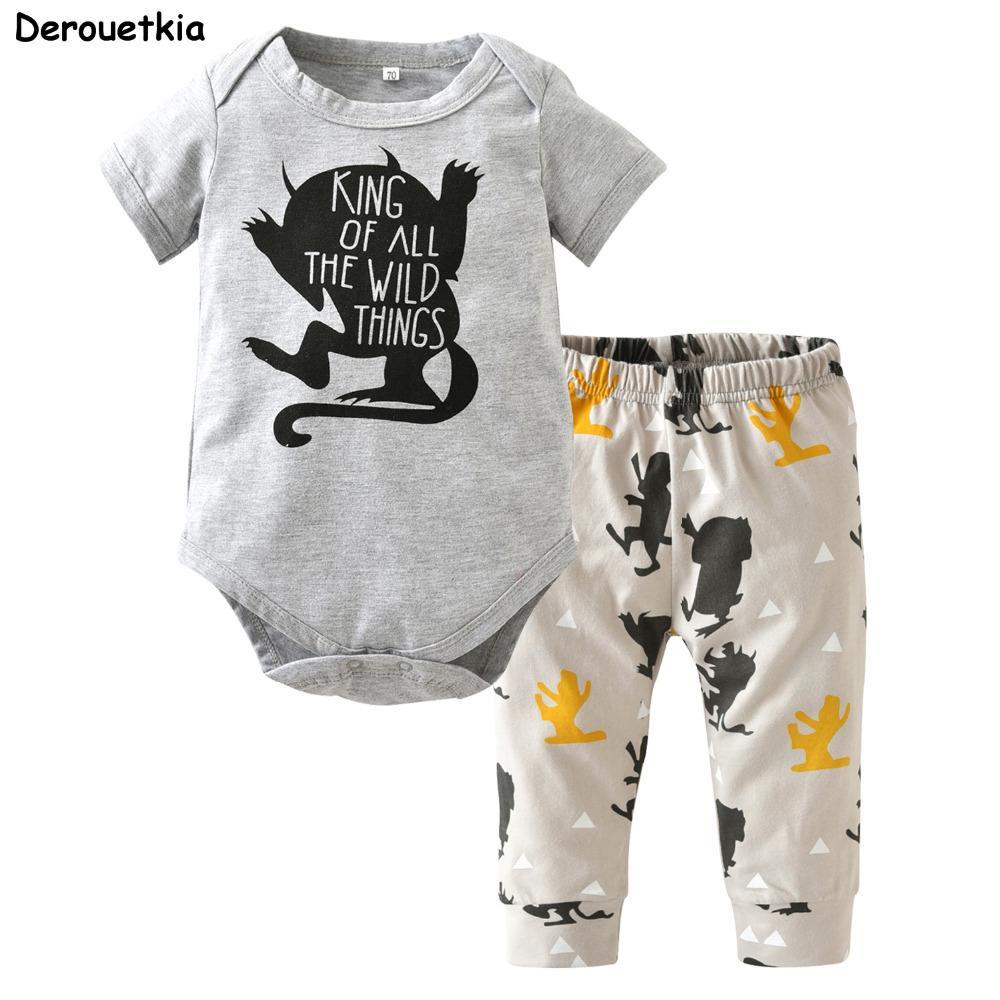 536c1d8a10cc4 Acheter Vêtements De Bébé Garçon Coton Peu Body Monster + Pantalon Nouveau  Né Bébé Fille Vêtements Ensembles Infantile Costume Enfant Tenues Y18120601  De ...