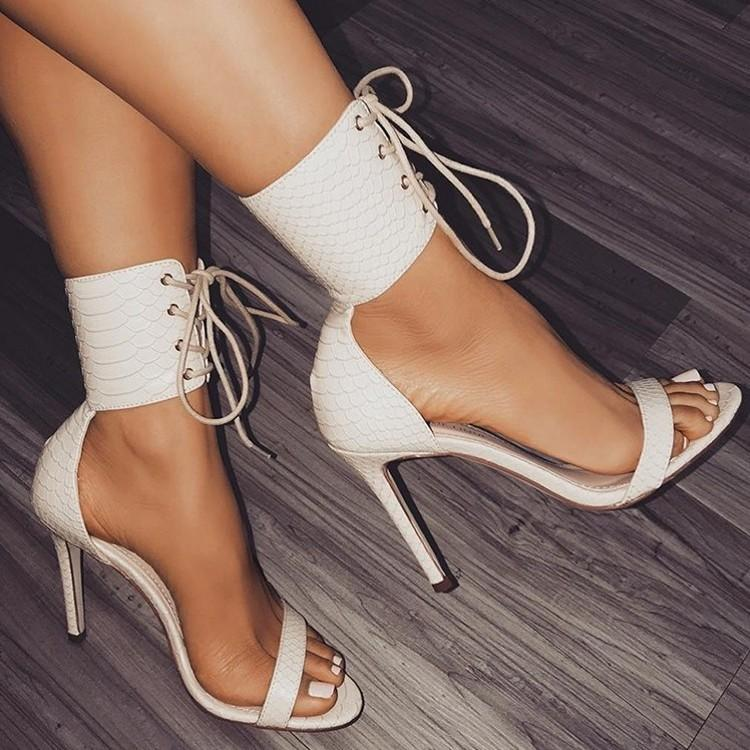 9ed462fc027 2019 Snakeskin Pattern Women Pumps High Heels Peep Toe Lace up Cross-tie  Sexy High Heels Women Party Shoes White Color