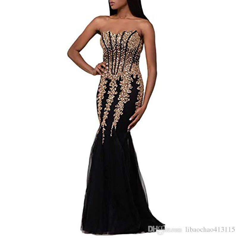 21bfd9c08ed80 Women's Tulle Long Black and Gold Evening Dresses 2019 Sex Sweetheart Strapless  Crystal Beaded Mermaid Prom Dresses Formal Gown