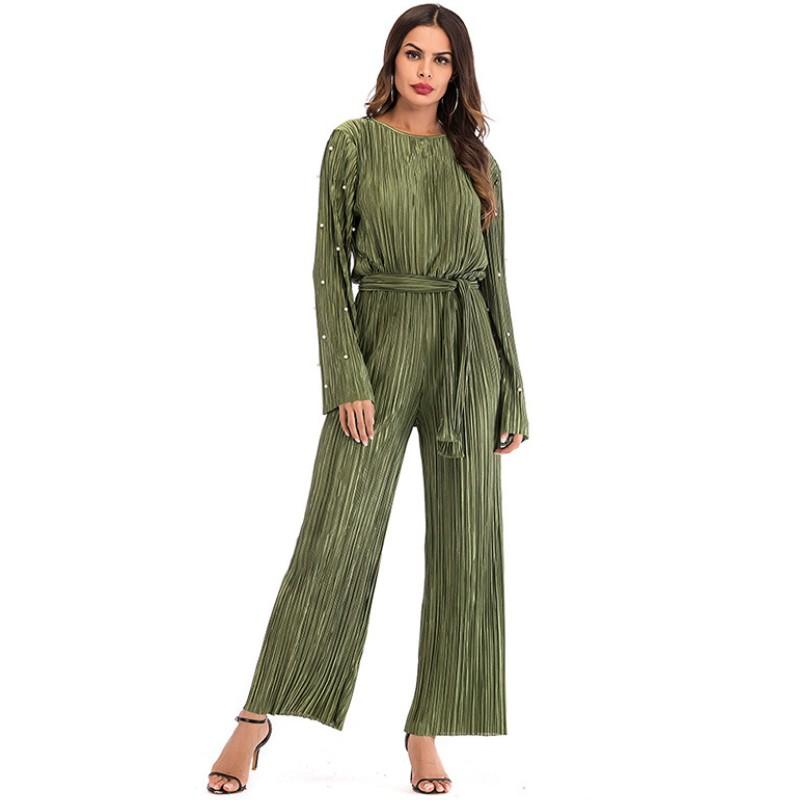 fe24abedb655 2019 YSMARKET Abaya Dubai Kaftan Long Maxi Pearl Pleated Wide Leg Jumpsuit  Muslim Turkish Islamic Clothing Spring Casual Jumpsuits For Women From ...