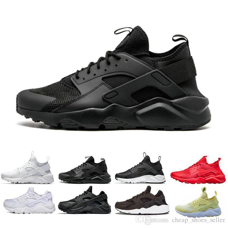 16539aae119 2019 2019 Air Huarache 1.0 4.0 Mens Running Shoes Triple Black White Gold  Red Fashion Huaraches Mens Trainers Women Sports Sneaker 36 45 From ...