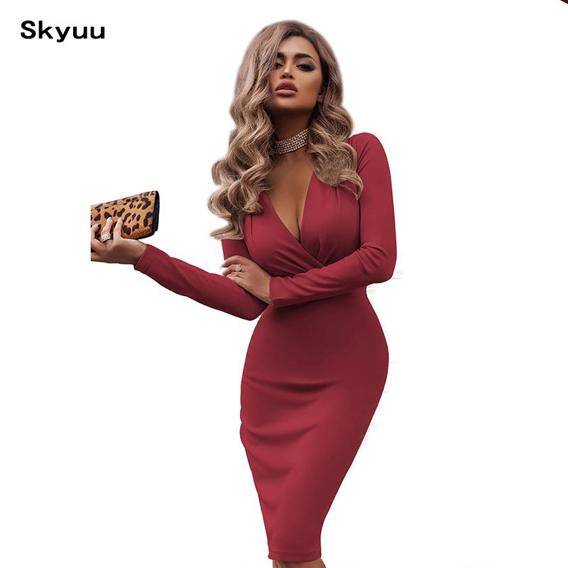 Skyuu Bandage Dress 2019 New Sexy Party Dresses Night Club Wear Red Green White  Dress Midi V Neck Bodycon Noodles Women Clothing Off The Shoulder Summer ... 20921610e