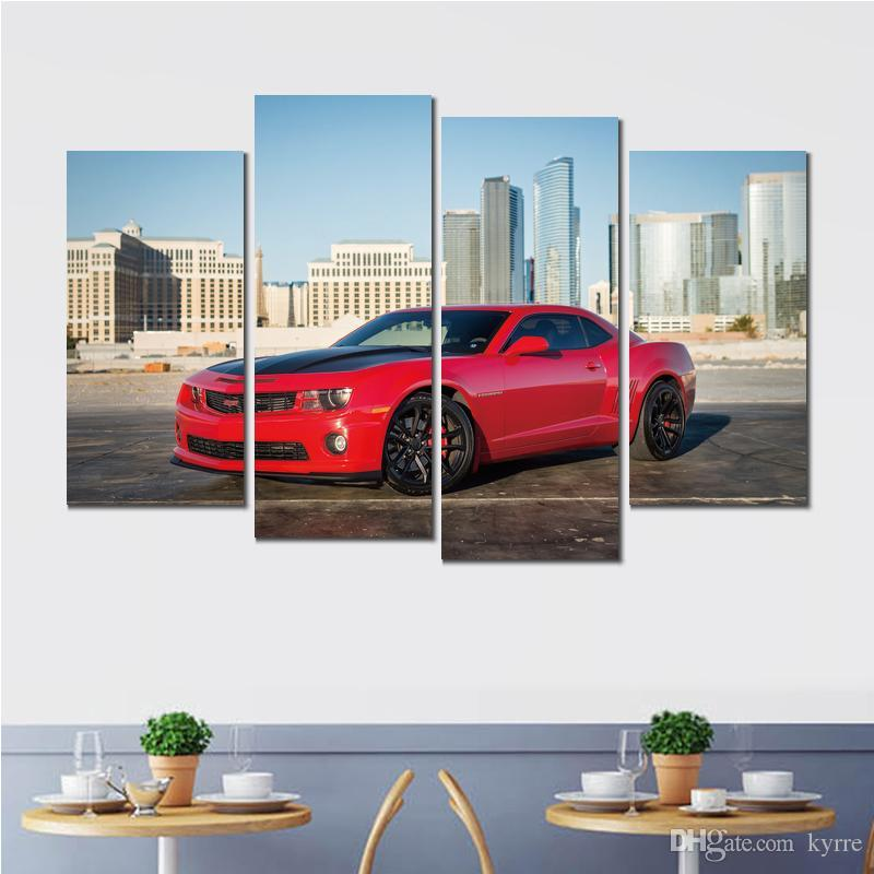 chevrolet camaro red canvas print arts pictures for dining room decor