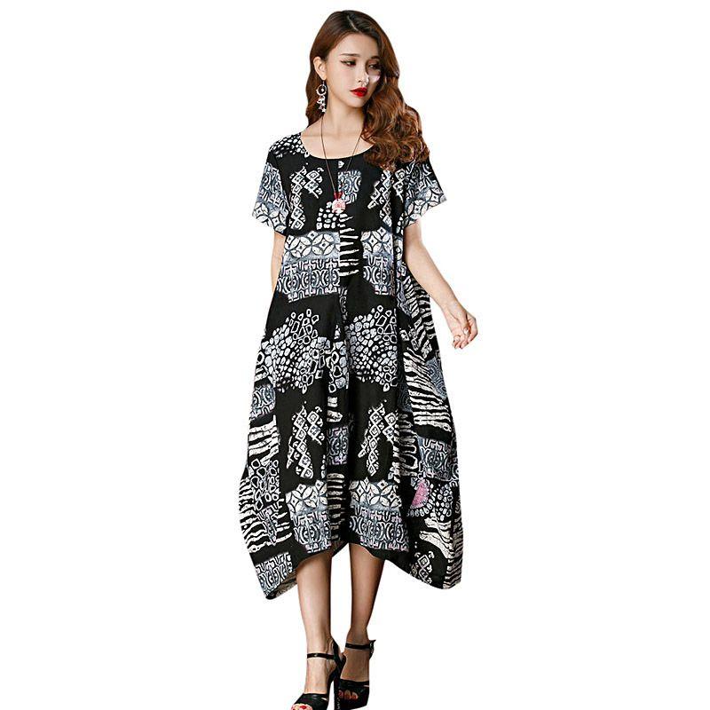 3593854aa587 2019 New Women Summer Dress XXXL 4XL 5XL Plus Size Casual Dress Print O  Neck Short Sleeve Big Size Party Boho Midi Robe Dress Dress Shopping Womens  ...