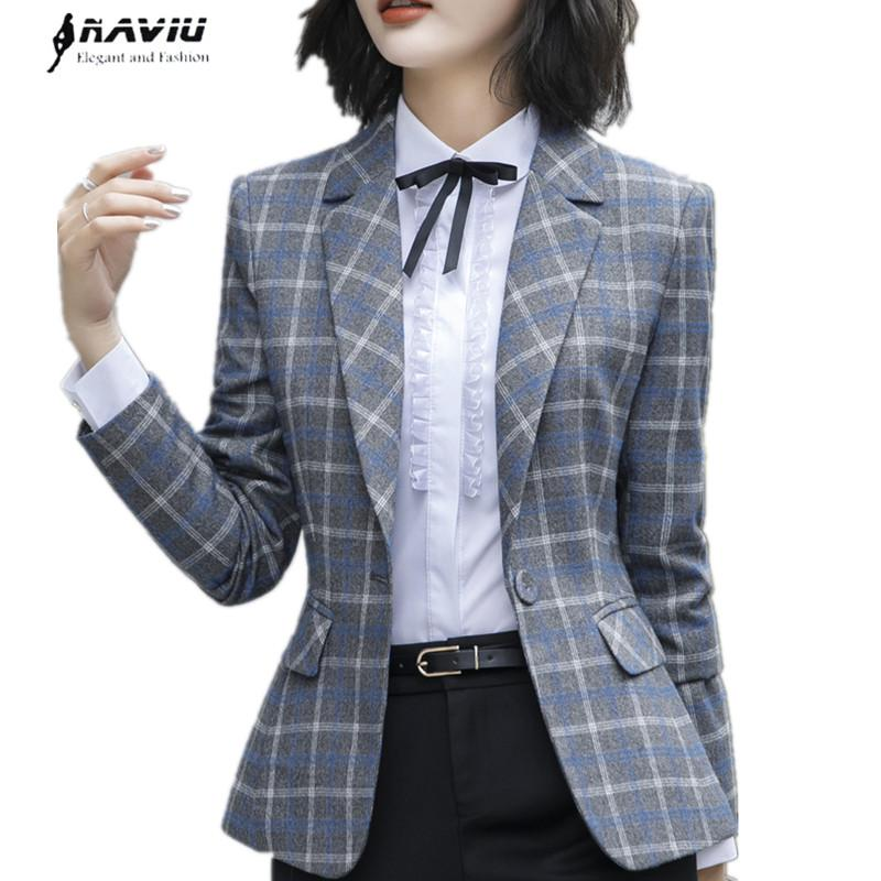 8c3ec600f 2019 Fashion Plaid Blazer Coat Women Autumn Winter New Chic Long Sleeve  Casual Plus Size Jacket Office Ladies Work Wear From Vanilla04, $42.91 |  DHgate.Com