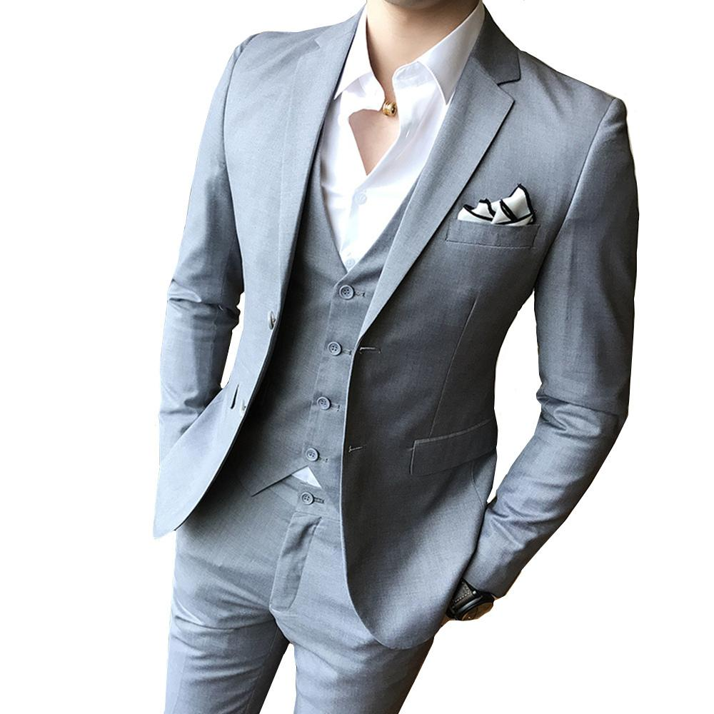 0a4594bb0587 2019 Solid Color Slim Fit Male Piece Dress Men Business Casual Blazer  Wedding Prom Dinner Suits Groomsman Wear Tuxedo C190416 From Shen07, $73.13    DHgate.