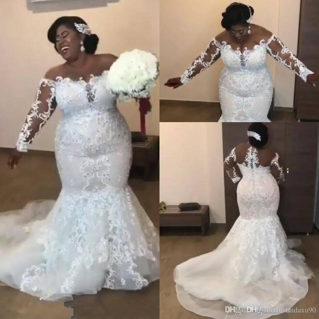 Sheer Long Sleeves Lace Mermaid Plus Size Wedding Dresses 2019 Mesh Top  Applique Beaded Court Train Wedding Bridal Gowns Vestidos De Novia