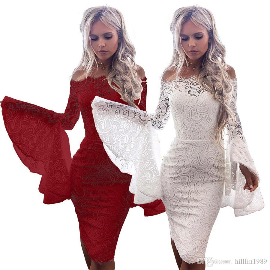 b0b1ff5345e6 Wine Red Fashion Flare Sleeve Streetwear Off-shoulder Sexy Lace Bodycon  Dresses Mini Sheath Casual Dress for Women Flare Sleeve Streetwear Sexy  Lace Bodycon ...