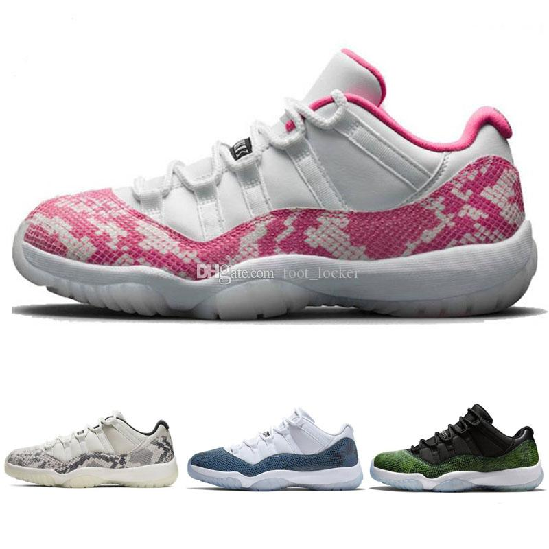 Men Shoes Jumpman 11 XI Pink Snake Skin Light Bone Snakeskin Man Retro Outdoor Shoes bred space jam Sports sneakers