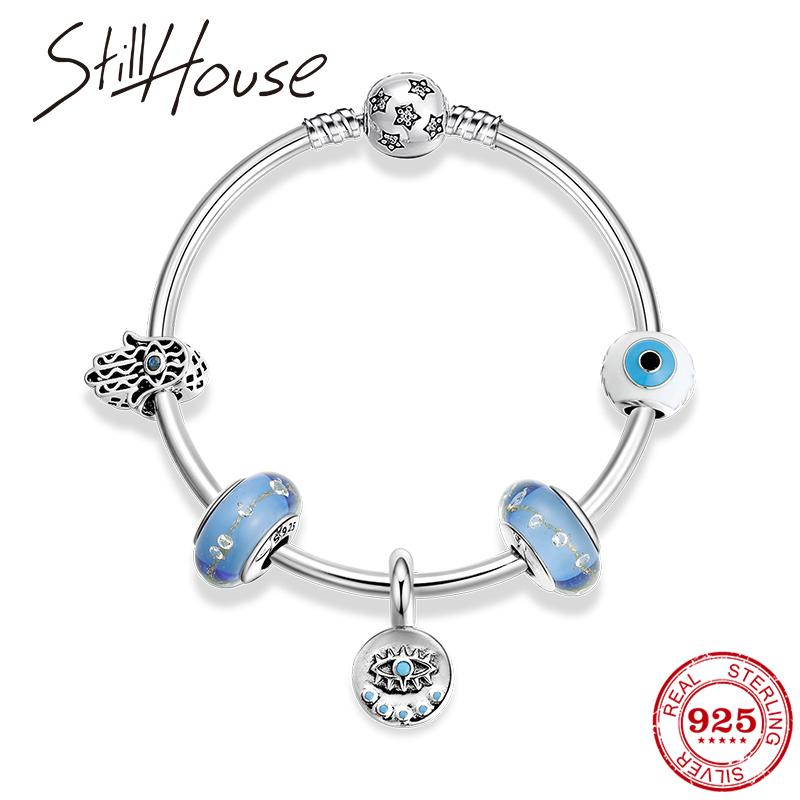 High Quality Authentic 925 Sterling Silver blus gass Bead Bracelets Demon Eye beads Bracelet Bangles Women Fine Jewelry