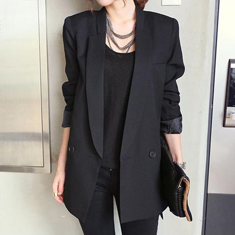 separation shoes 75c52 a6f45 2018 Giacca lunga donna nera stile solido e blazer Colletto dentellato  femmina Blazer donna asimmetrico elegante da donna