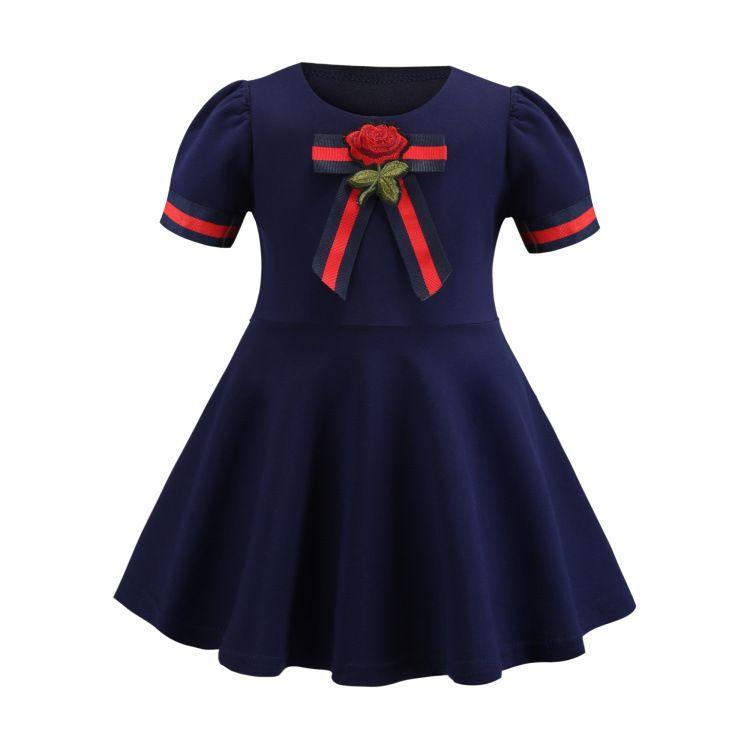 7bd6bf0a2ae47 baby girls rose Designer princess dress flower embroidery short sleeve kids  Pleated Dress College Style stripe bow children dress