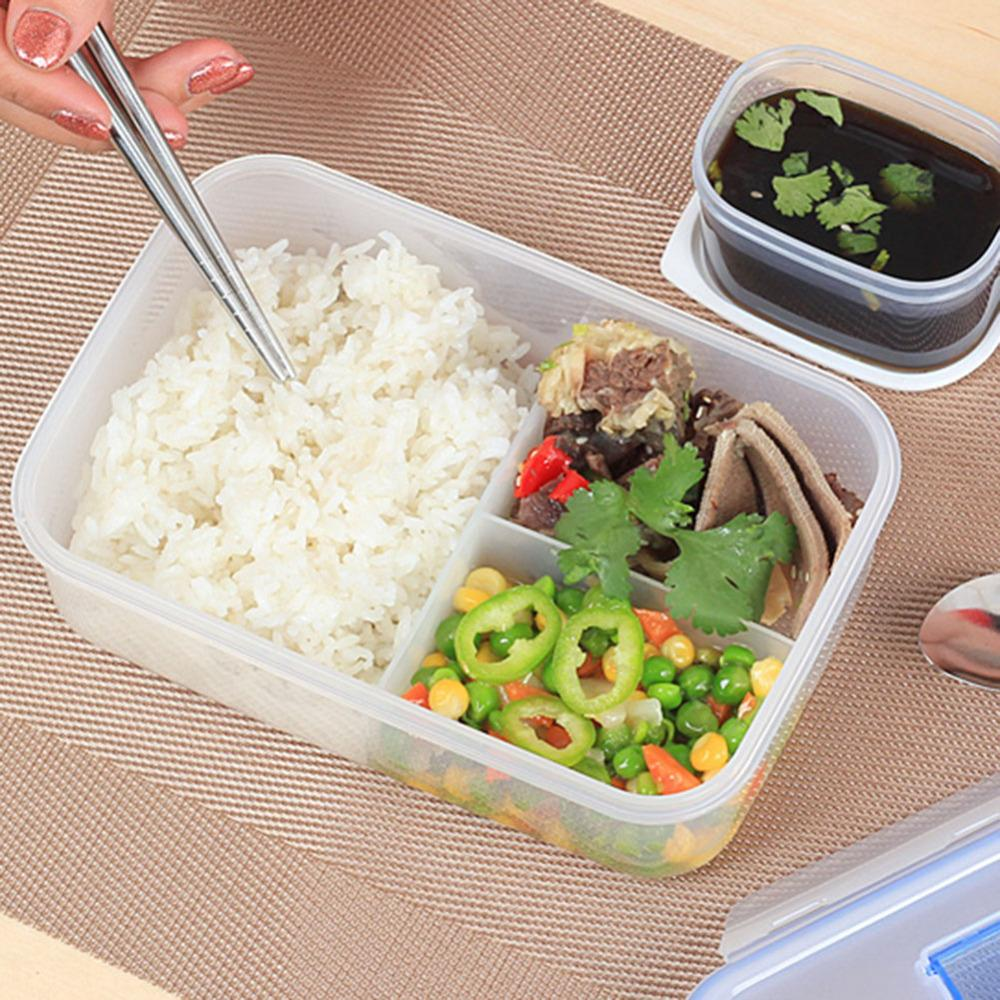 Arts de la table 1000ML Micro-ondes Lunch Box Ecofriendly extérieur portable Micro-ondes Gamelle avec Bol à soupe Chopsticks alimentaire Conteneurs 1000 ml