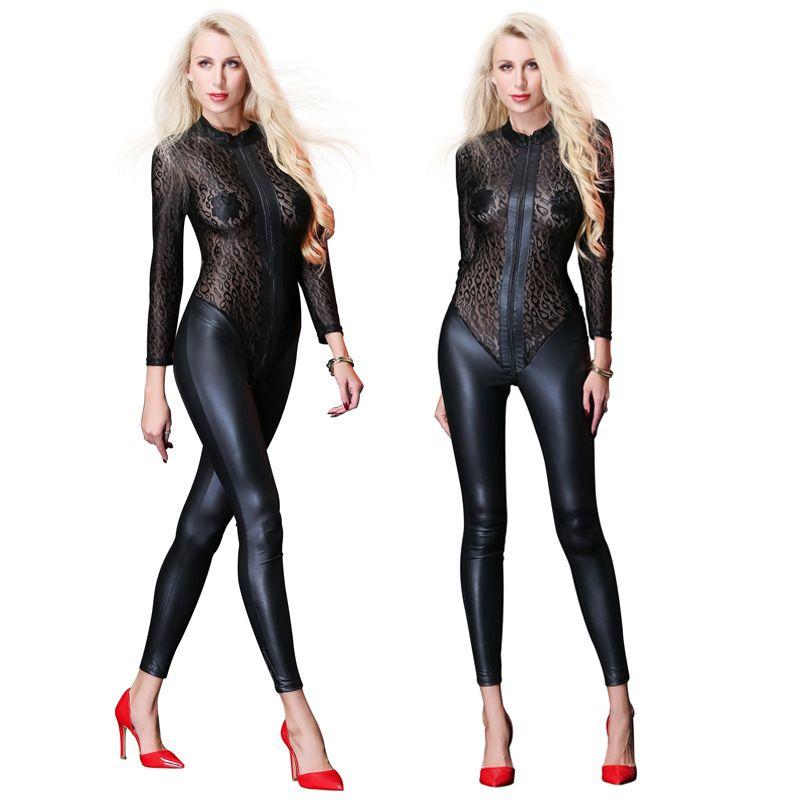 75336d4dd3850 Sexy Mesh PU Jumpsuit For Women Faux Leather Bodysuit Zipper Open Crotch  Erotic Latex Catsuits Night Culb Dance Wear