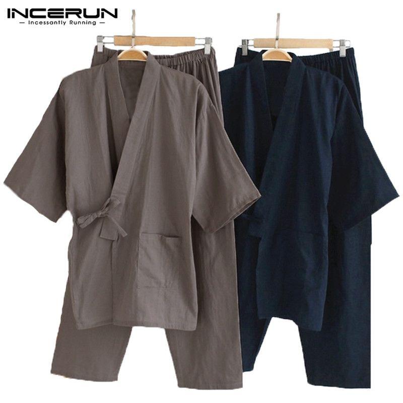 64a0e4b6dd8ba0 Großhandel Männer Kimono Pyjamas Japanischen Stil Baumwolle Homewear Tops  Hosen Set Bademantel Einfarbig Retro Lässig Comfy Nachtwäsche Anzüge Männer  5XL ...