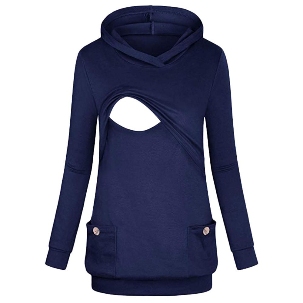79373343a7a27 Women's Nursing Hoodie Long Sleeves Striped Tops Breastfeeding Hoodie  Sweatshirt plus size women clothing brand women clothing